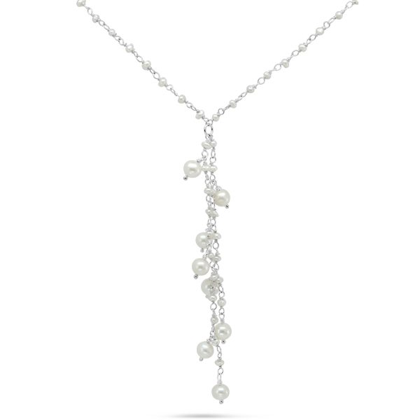 Pearl Beaded Silver Tassel Necklace