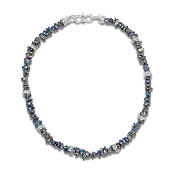 Black Keshi Pearl Silver Necklace
