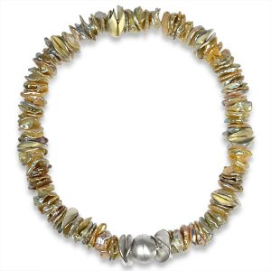Champagne Silver Keshi Pearl Necklace