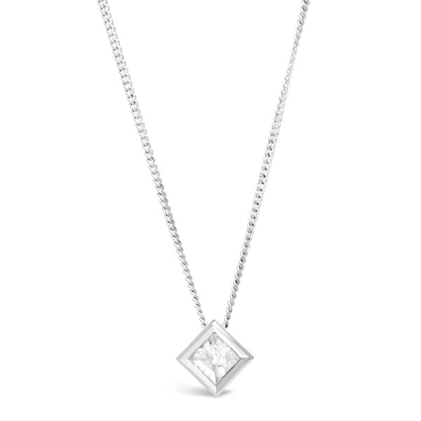 Platinum and Princess Cut Diamond Cube Pendant