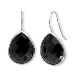 Silver Onyx Teardrop Earrings