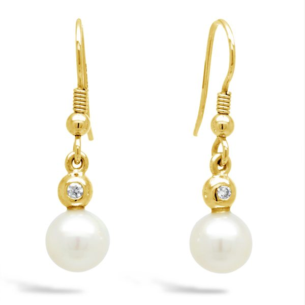 Akoya Pearl and Diamond Gold Earrings
