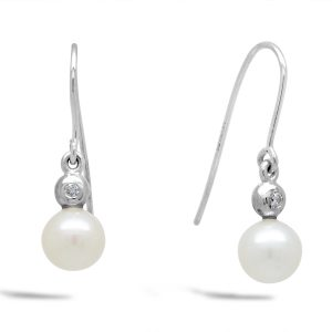 Akoya Pearl, Diamond and White Gold Earrings