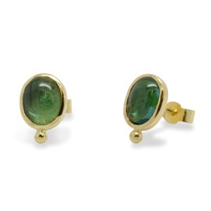 Green Tourmaline Gold Roman Ear Studs