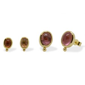 Pink Tourmaline Gold Ear Studs