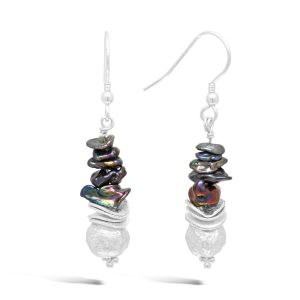 Black Keshi Pearl Silver Earrings