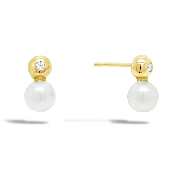 Diamond and Akoya Pearl Gold Ear Studs