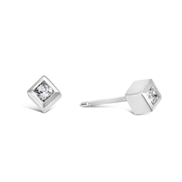 Platinum and Princess Cut Diamond Cube Ear Studs