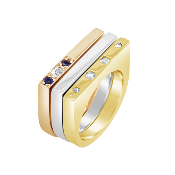 Mixed Gold Flat Top Rings rose gold yellow gold white gold