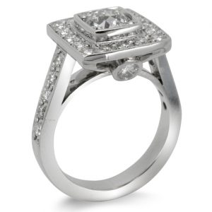 Platinum and diamond cluster ring