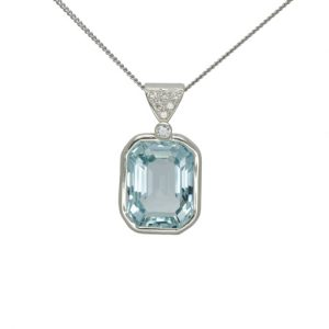 Emerald Cut Aquamarine and Diamond Pendant