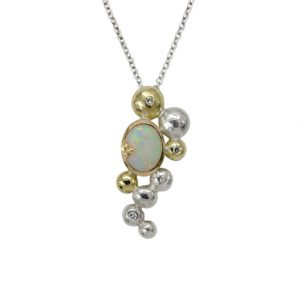 Opal and Diamond Pendant In 18ct Gold and Silver