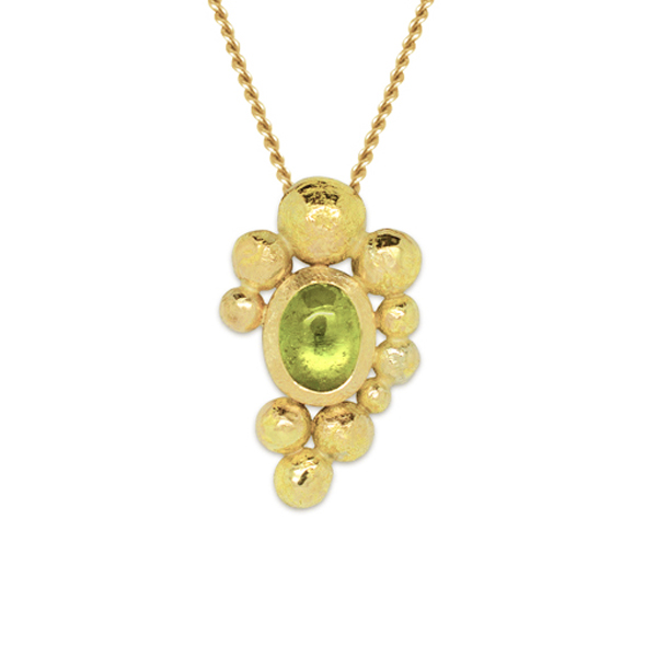 Gold nugget pendant with peridot cabochon pruden and smith gold nugget pendant aloadofball Images
