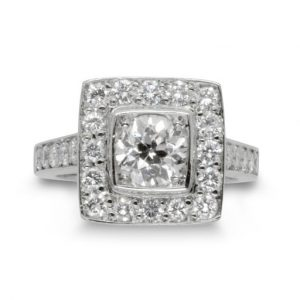 Pave Set Diamond Cluster Ring With Diamond Shoulders