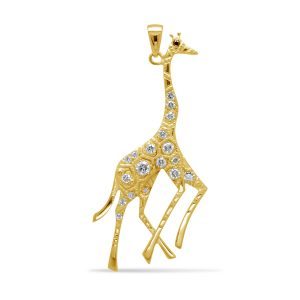 Gold and diamond giraffe pendant