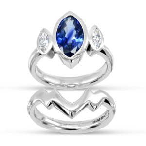 Sapphire Trilogy Engagement Ring