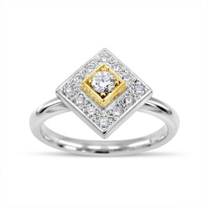 Square Two Colour Gold Diamond Cluster Ring