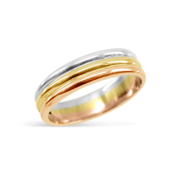 Three Colour Wedding Ring Wedding band with Tricolour Three Strand