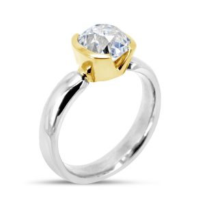 V Cut Diamond Engagement Ring