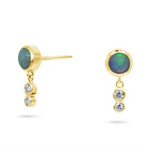 Gold Opal Ear Studs With Diamond Drops