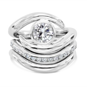 Engagement ring set, Wedding & Eternity Fitted Platinum Inverse Spiky Rings