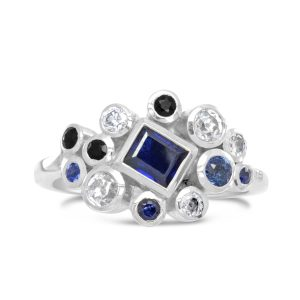 Stacking Ring White Gold, Diamond and Sapphire