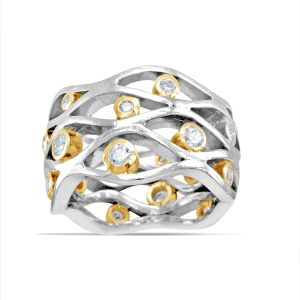 Mixed Gold Diamond Wave Ring