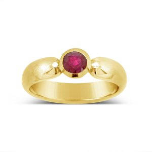 Gold Band with Gold Setting for Ruby