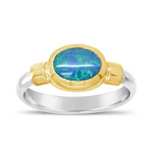 opal ring with silver shank and gold shoulders