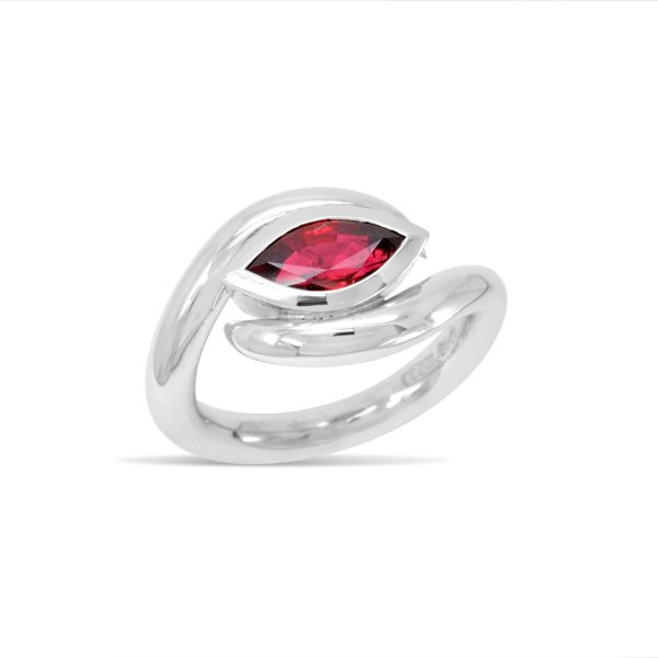 Marquise Cut Ruby in Spiky Platinum Ring