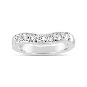 curved to fit platinum diamond wedding eternity ring