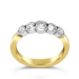 18ct Gold Five Diamond Scalloped Ring