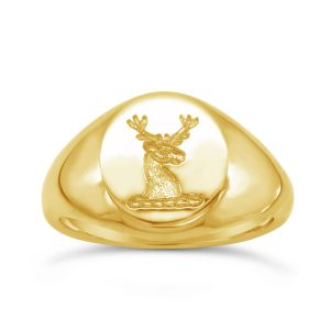 18ct Gold Signet Ring with Deer Seal Engraving
