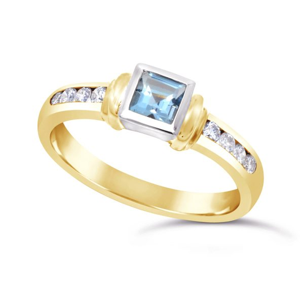 Gold Aquamarine Shoulder Ring with Channel Set Diamond Sides