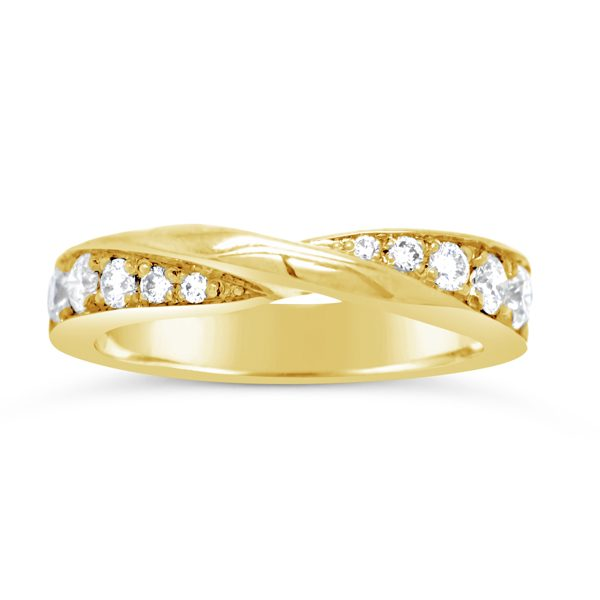Gold Twist Ring in 18ct Yellow Gold Pave Set Diamond