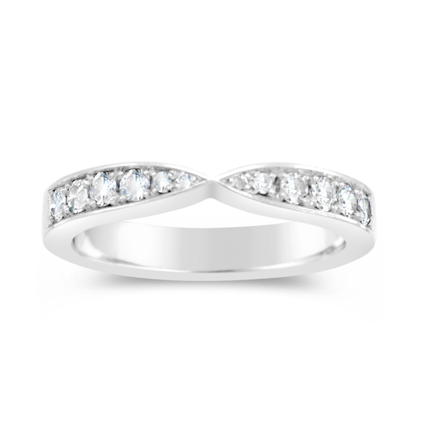 Twist Ring in Platinum Pave Set 3mm Diamond