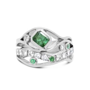 Wave Ring in Platinum with Emerald and Pave Set Diamond