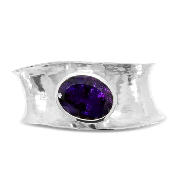 Silver Wave Cuff With 28mm x 20mm Amethyst