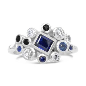 Stacking Ring White Gold Diamond and Sapphire