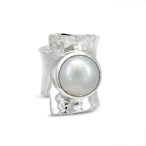 mabe pearl ring in silver