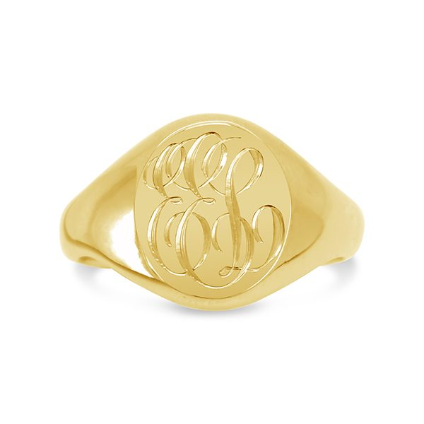 gold signet ring with engraved initials