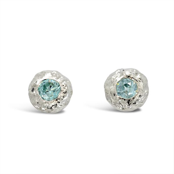 Nugget and aquamarine earstuds