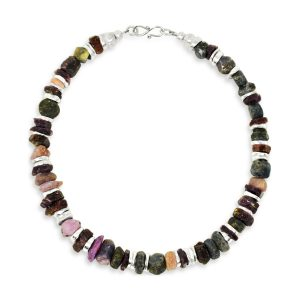 Rough Multi Coloured Sapphire and Silver Disc Necklace