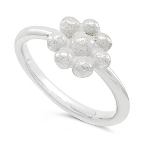 Silver Nugget Flower Ring
