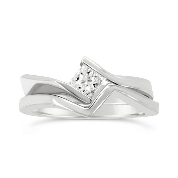 Unusual Platinum Engagement ring and fitted wedding band with princess cut diamond, flat twist