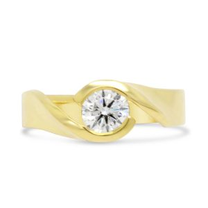 Twist Engagement Ring18ct Gold With 0.64ct Diamond