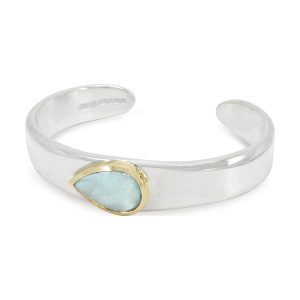 Aquamarine Cabochon Silver Gold Set Bangle