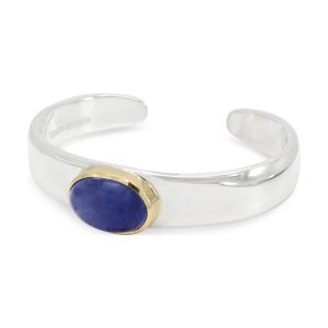 Tanzanite Cabochon Gold Set Bangle