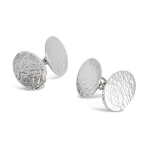 Oval Chain Peened Cufflinks
