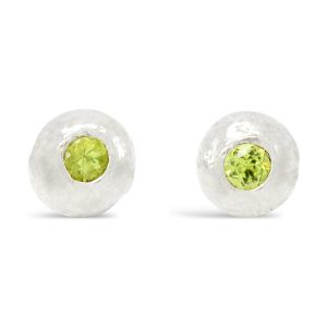 Silver Nugget Earstuds With Peridot